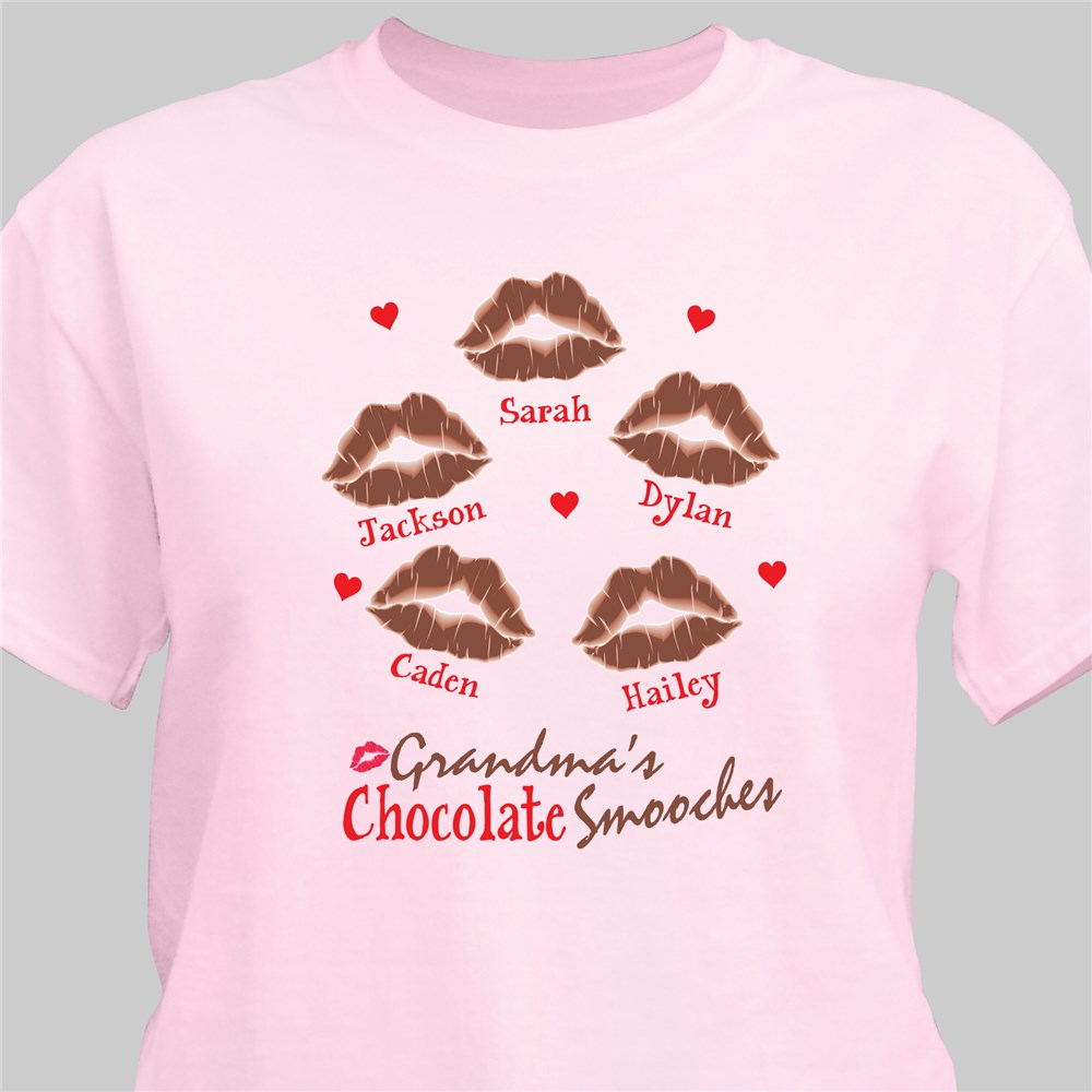 Personalized Chocolate Smooches T-Shirt | Personalized Grandma Shirts