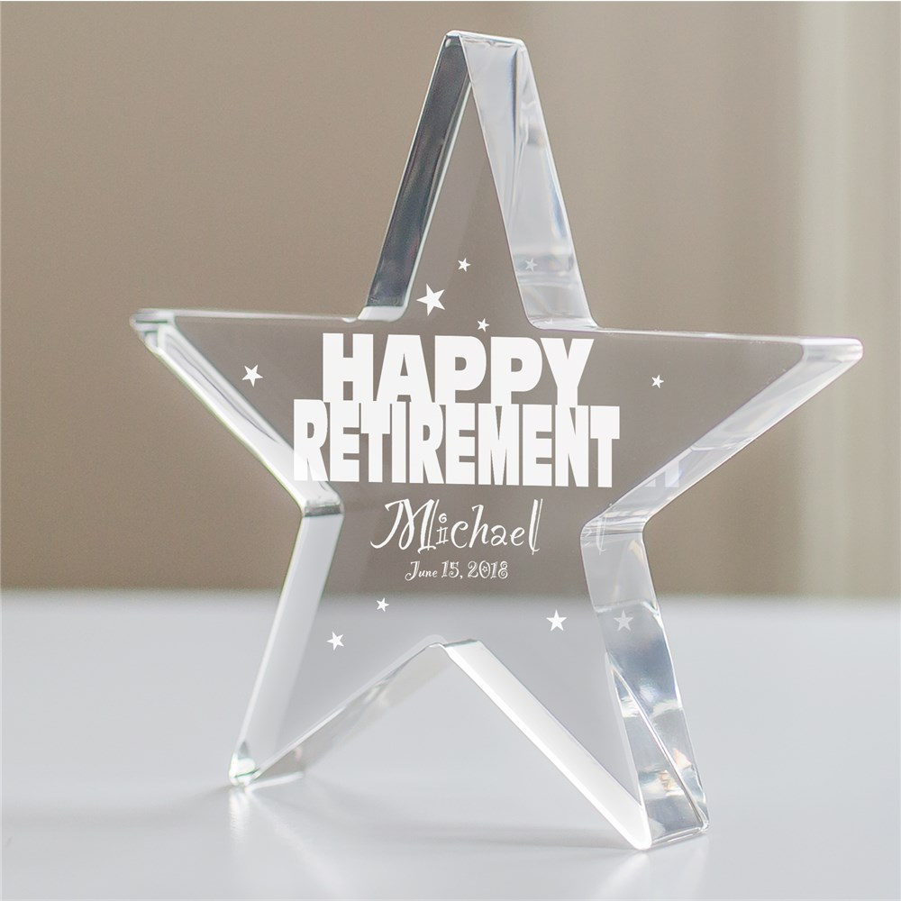 Engraved Happy Retirement Star Keepsake 356017