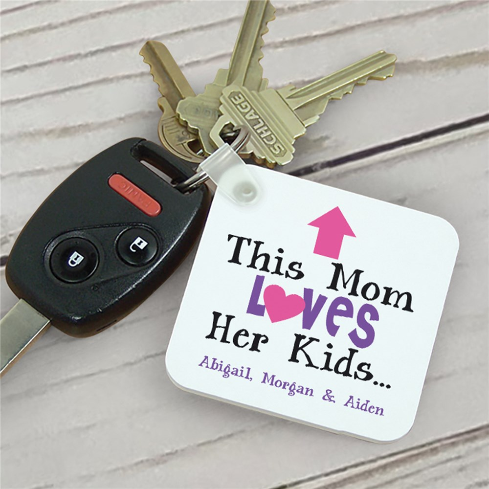 Personalized This Mom Loves Her Kids Key Chain | Personalized Keychains