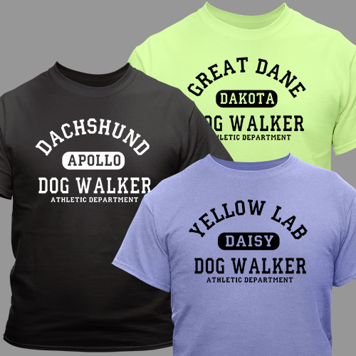 Personalized Dog Walker Athletic Dept. T-Shirt | Personalized T-shirts