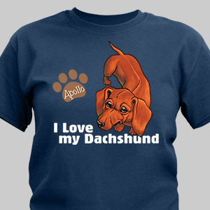 Personalized I Love My Dachshund T-Shirt | Personalized T-shirts