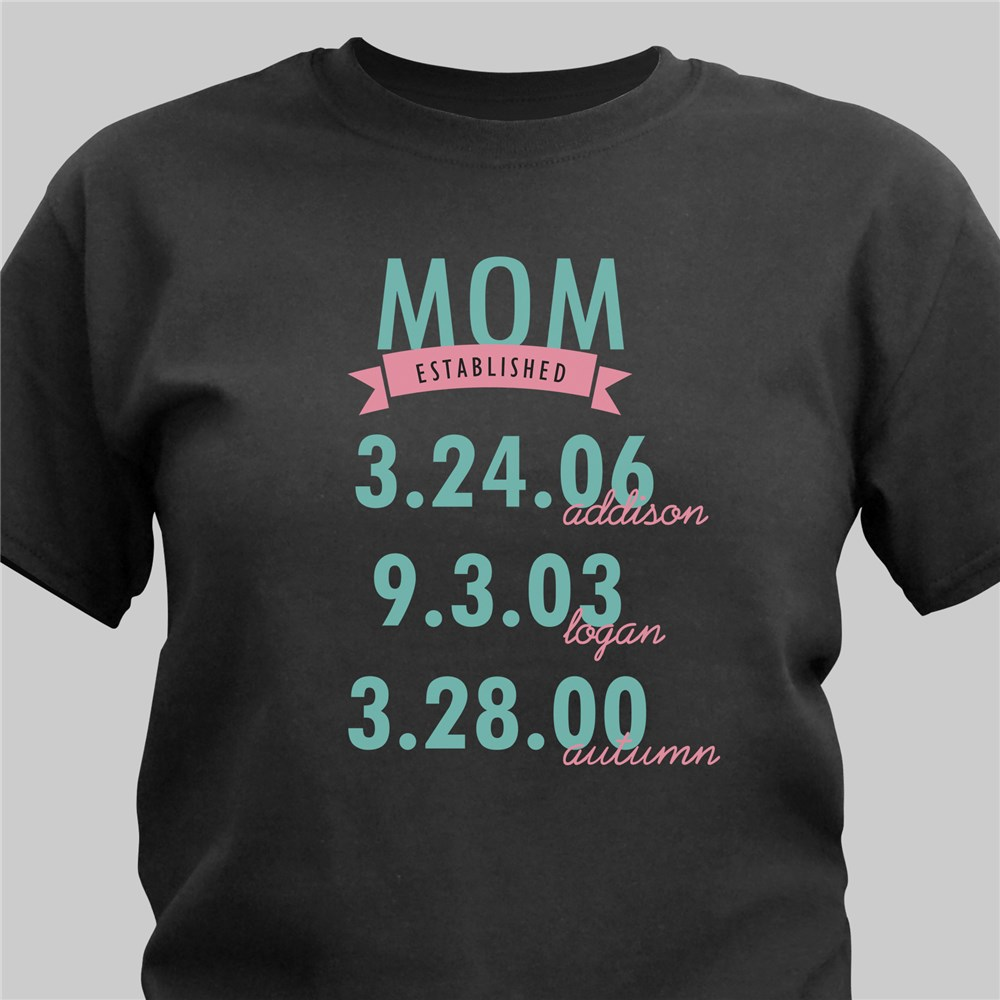 Personalized Established T-Shirt | Personalized Mom Shirts