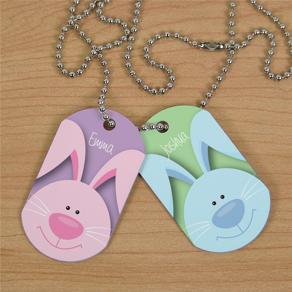 Easter Gift For Kids | Easter Bunny Necklace with Custom Name