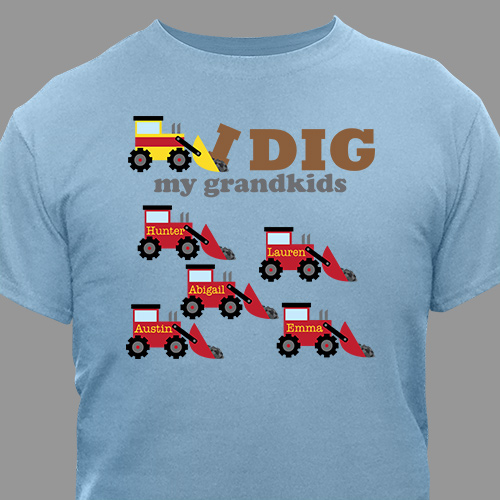 Personalized I Dig My Kids T-Shirt | Grandpa Shirts