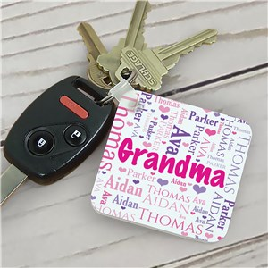 Personalized Grandma's Heart Word-Art Key Chain | Personalized Gifts for Grandma
