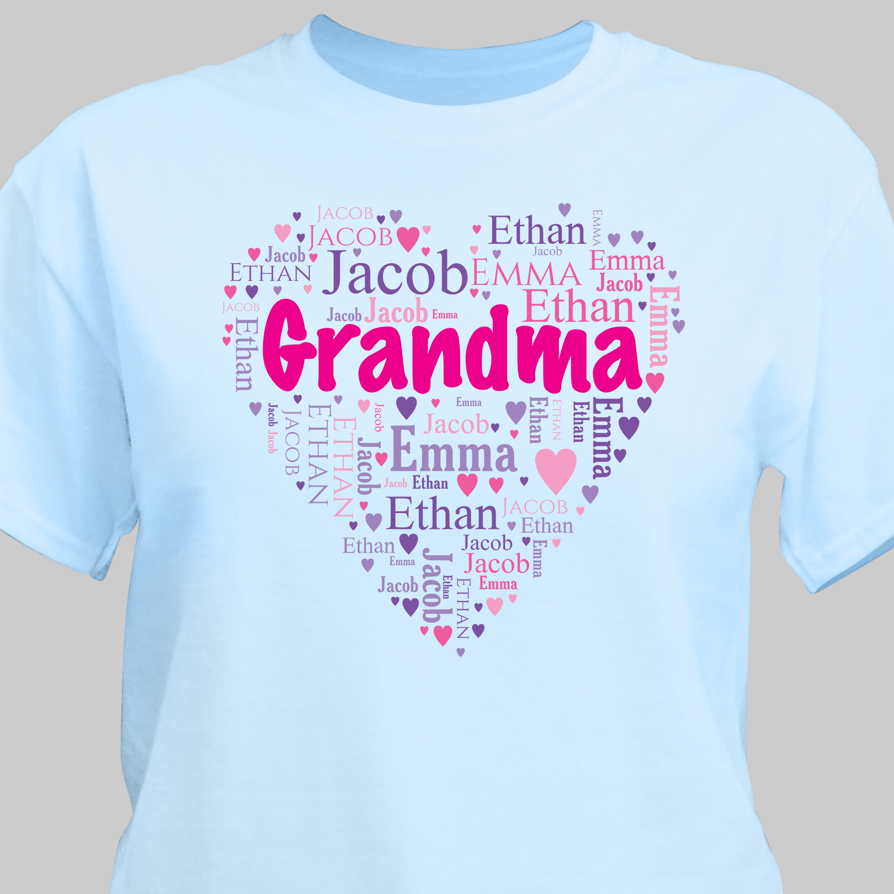 Grandma's Heart Word Art T-Shirt | Personalized Gifts For Grandma