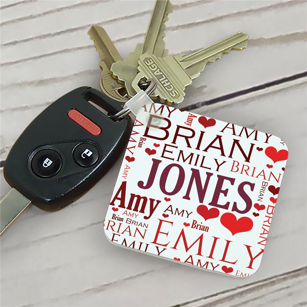 Personalized In Our Hearts Memorial Key Chain | Personalized Word Art