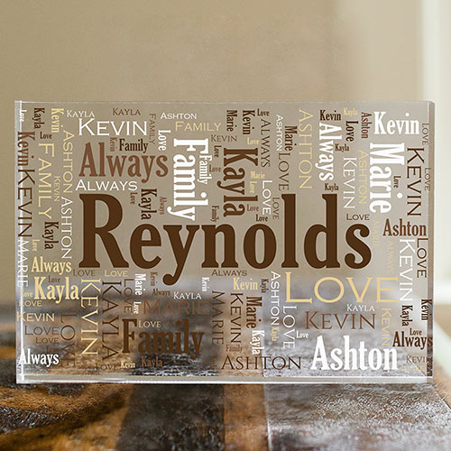Family Word-Art Acrylic Block | Personalized Father's Day Keepsake