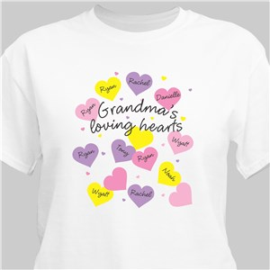 Loving Hearts Personalized T-Shirt | Personalized Grandma Shirts