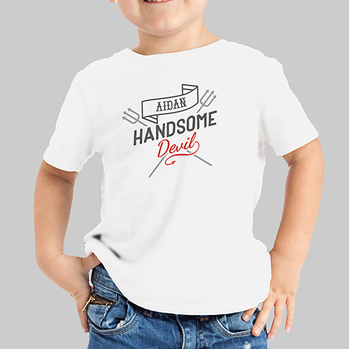 Personalized Handsome Devil Kid's Tshirt | Valentines Day Gifts For Kids