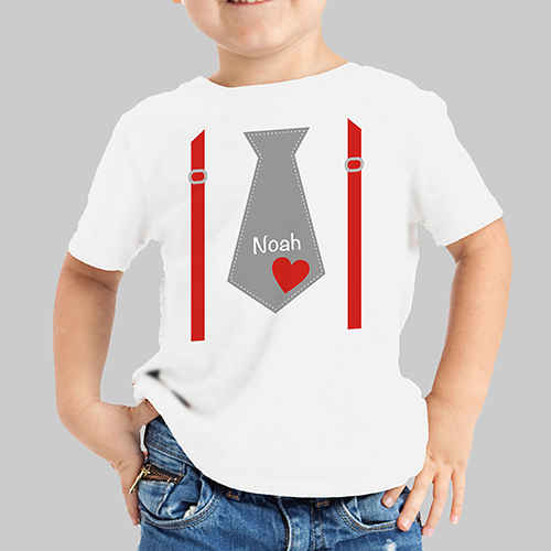 Valentine's Day Personalized Tie T-Shirt | Valentines Day Gifts For Kids