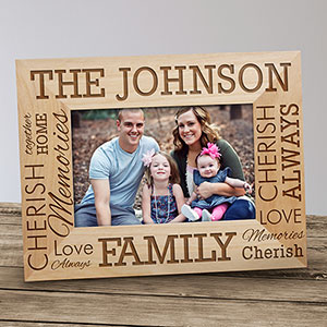 Engraved Family Name Wood Frame 910162X