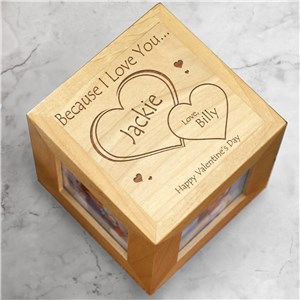 Engraved Because I Love You Photo Cube | Valentines Day Photo Frames