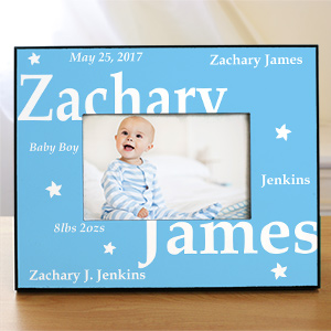 Custom Printed New Baby Boy Picture Frame | Baby Picture Frames