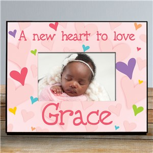 New Baby She's All Heart Personalized Printed Frame | Personalized Baby Frames