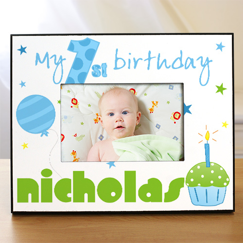 Personalized Baby Boy's 1st Birthday Picture Frame