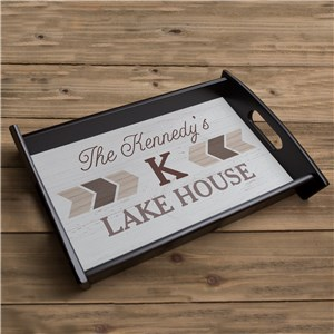 Personalized Chevron Lake House Serving Tray 414716ST