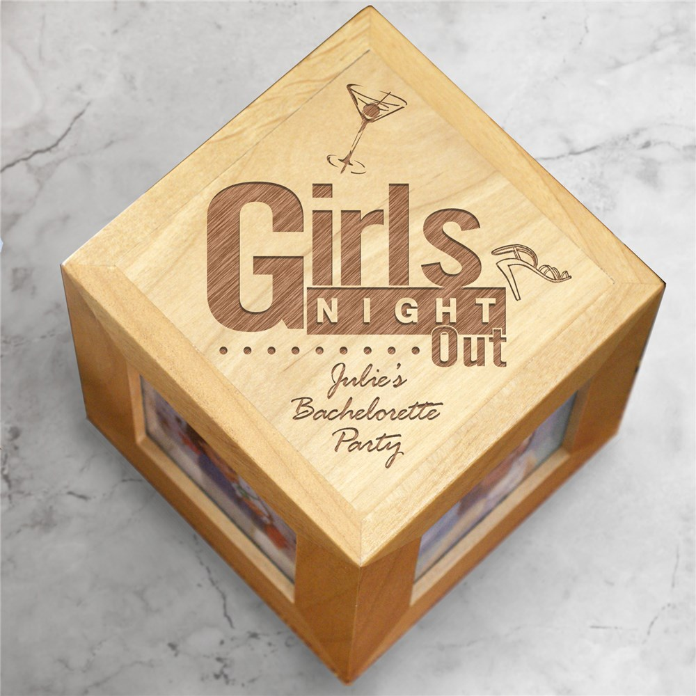 Engraved Girls Night Out Wooden Photo Cube | Personalized Bridesmaid Frames
