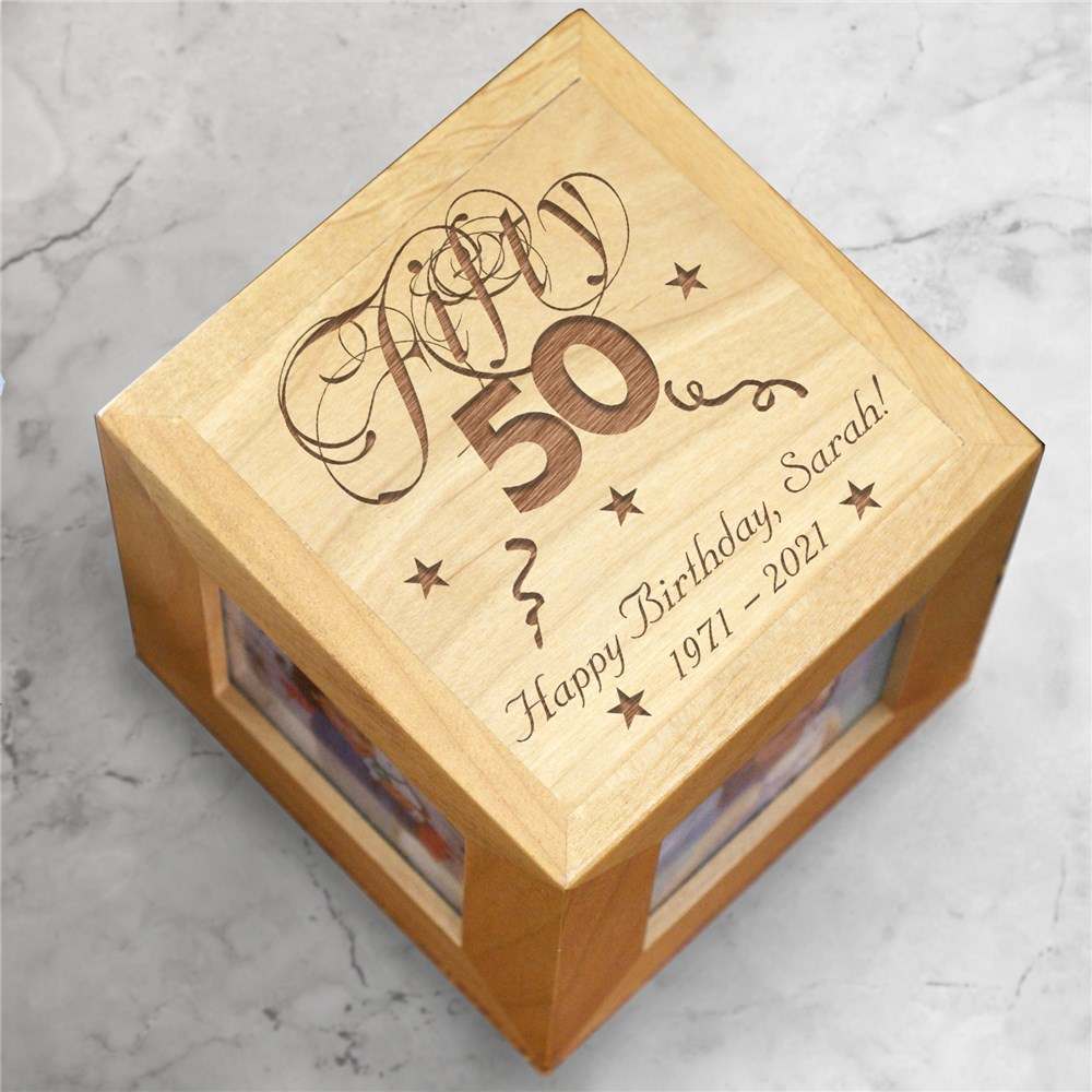 Personalized 50th Birthday Photo Cube 423824