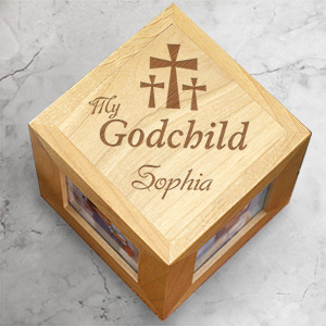 Engraved My Godchild Wood Photo Cube | Personalized Baptism Gifts