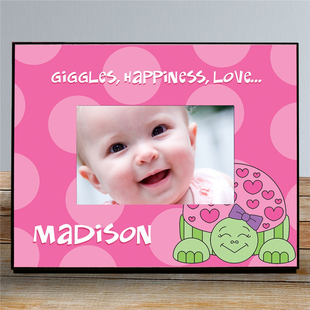 Personalized Turtle Printed Frame | Personalized Baby Picture Frames