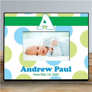 Personalized New Baby Polka Dot Printed Frame | Baby Frames