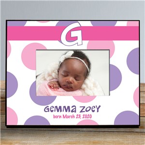 Personalized New Baby Polka Dot Printed Frame | Personalized Baby Frames