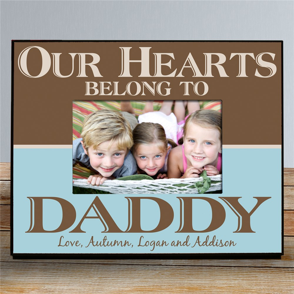 Personalized Our Hearts Belong To Daddy Printed Picture Frame | Daddy Picture Frames