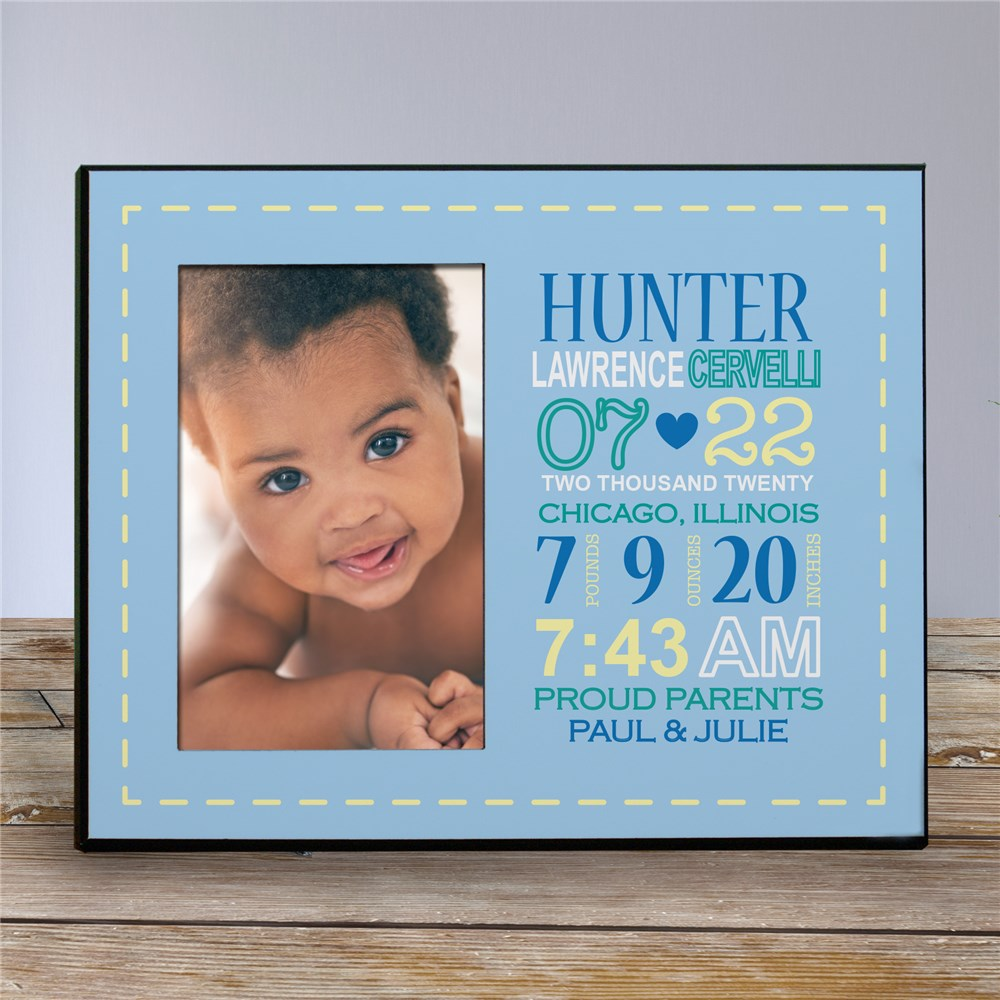 Personalized Boy Birth Announcement Printed Frame | Baby Frames