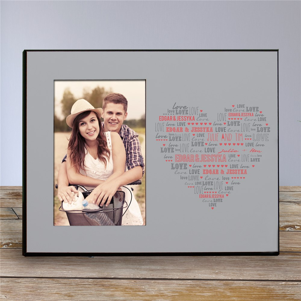 Personalized Heart Printed Picture Frame | Personalized Picture Frames
