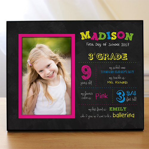 Personalized Her First Day of School Printed Frame | School Picture Frames