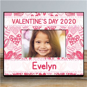 Personalized Pink Hearts Kids Photo Frame | Personalized Valentine's Day Gifts