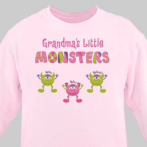 Personalized Grandmas Little Monsters Sweatshirt | Personalized Gifts for Grandma