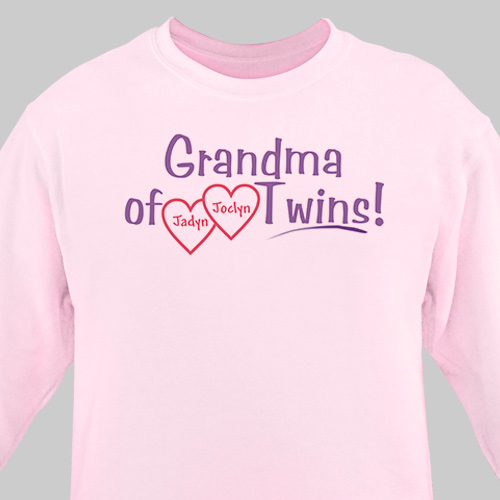 Grandmother of Twins Personalized Sweatshirt | Grandma Shirts