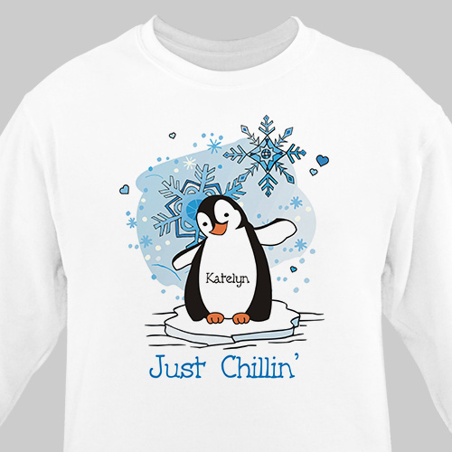 Just Chillin' Penguin Personalized Sweatshirt | Personalized Christmas Shirt