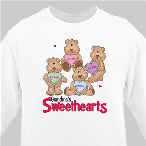 Candy Sweetheart Bears Valentine Sweatshirt | Personalized Grandma Sweatshirts
