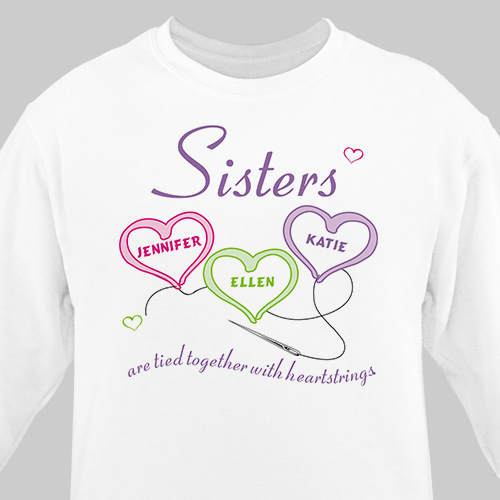 Sisters Heartstrings Personalized Sweatshirt | Personalized Sweatshirts