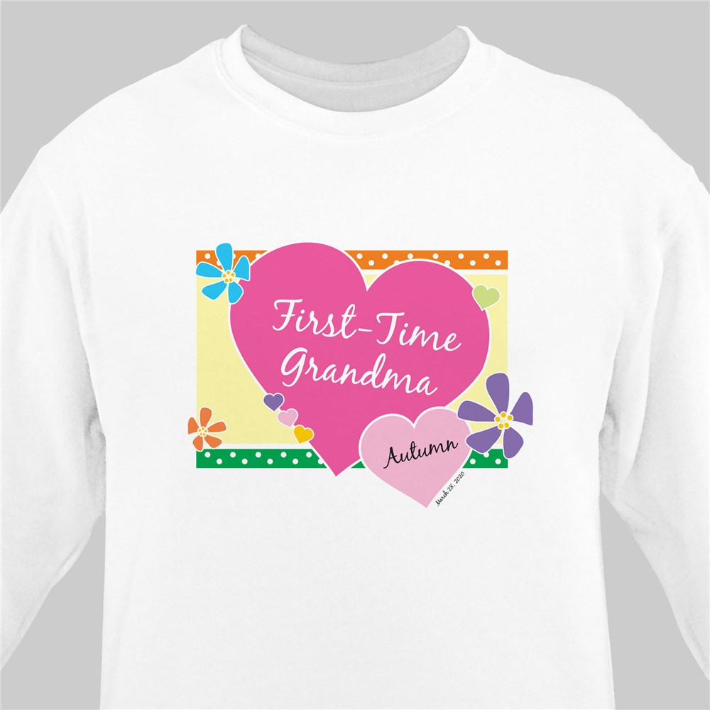First Time Grandma New Baby Personalized Sweatshirt | Grandma Sweatshirts