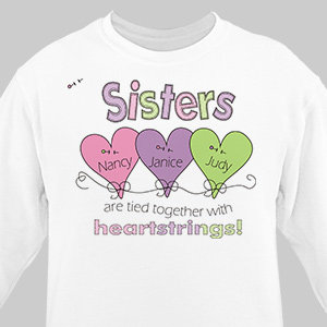 Heart Strings Personalized Sisters Sweatshirt | Personalized Sister Gifts