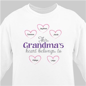 Personalized Heart Belongs To Sweatshirt | Personalized Grandma Shirts