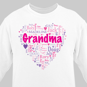 Grandma's Heart Word Art T-Shirt | Personalized Grandma Sweatshirt