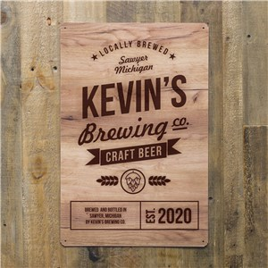 Personalized Brewing Company Metal Sign | Bar Signs