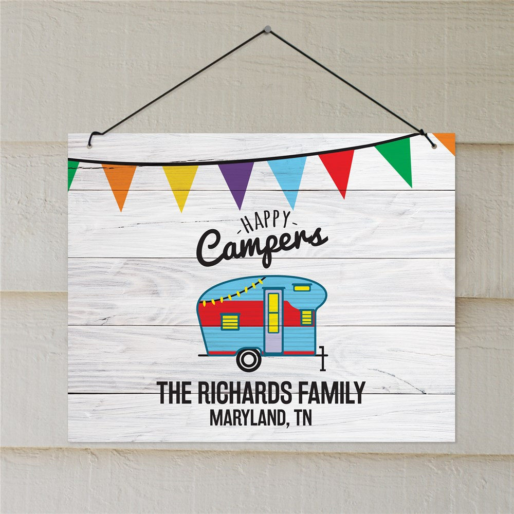 Personalized Happy Camper Wall Sign | Personalized Camping Signs