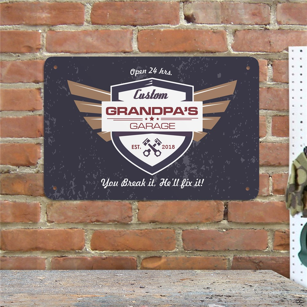 Personalized Grandpas Garage Wall Sign | Personalized Garage Signs