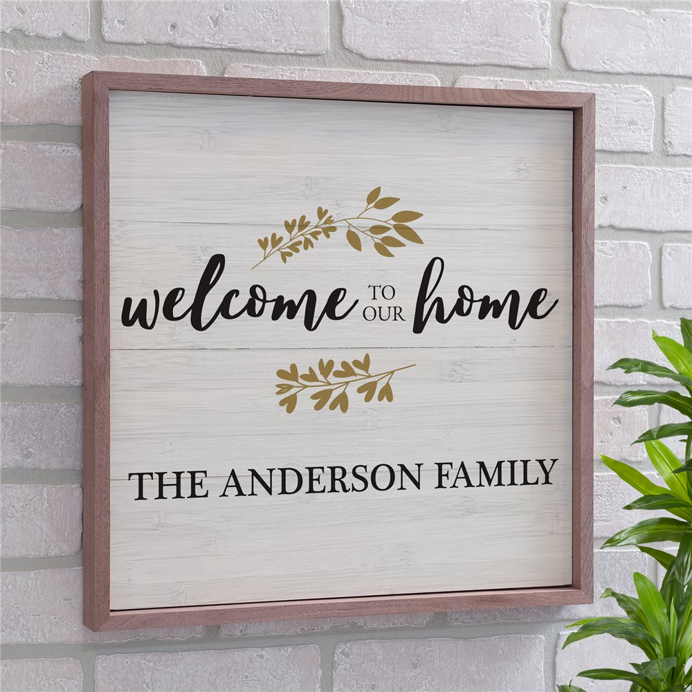 Personalized Welcome To Our Home Wood Pallet Wall Decor | Personalized Wood Pallet Welcome Sign
