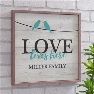 Personalized Love Lives Here Wood Pallet Wall Decor | Personalized Family Name Signs