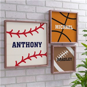 Personalized Sports Framed Wall Sign | Sports Personalized Pallet Signs 612928X