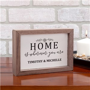 Personalized Home Is Wherever You Are Framed Table Top Sign | Personalized Home Decor For Couples
