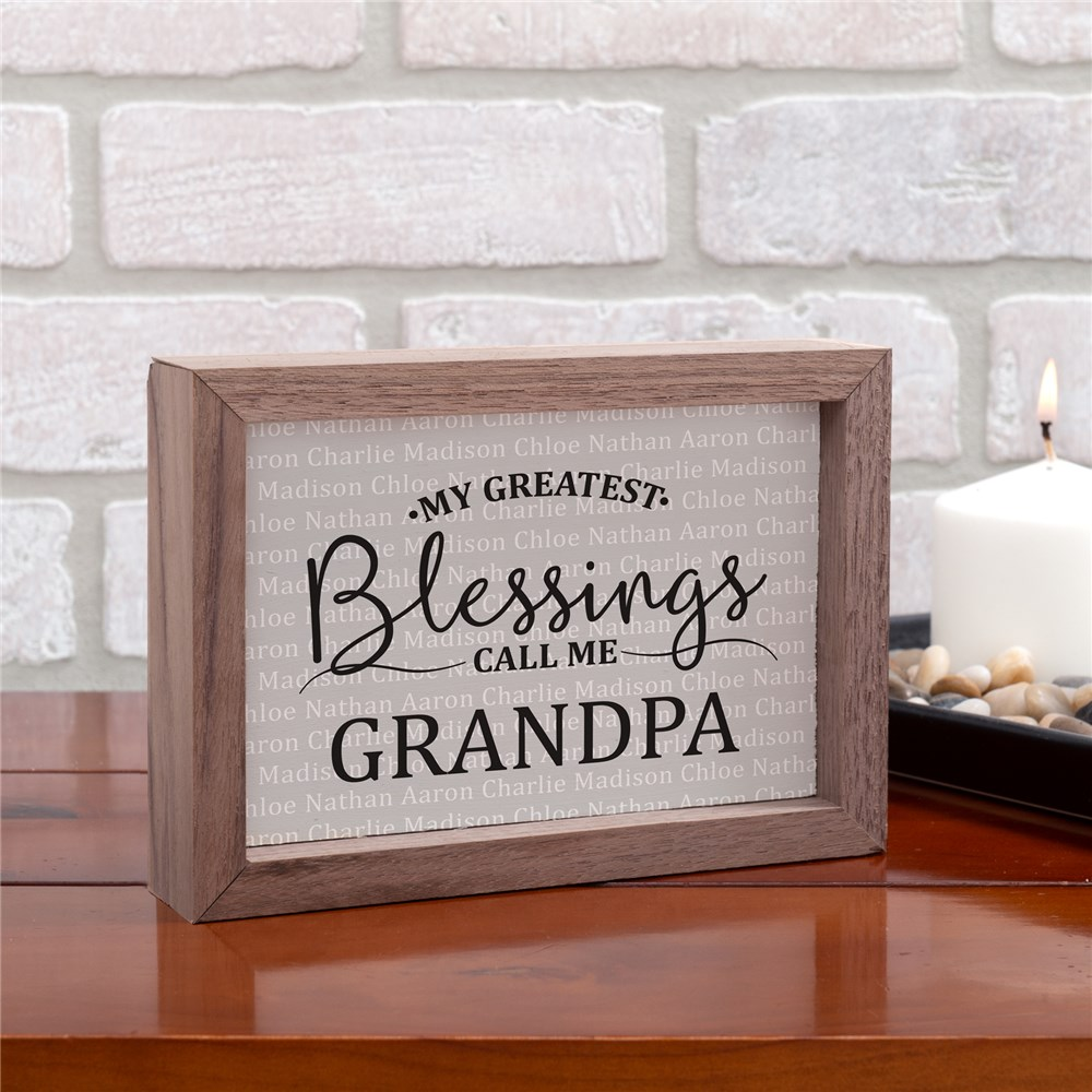 Personalized My Greatest Blessings Framed Table Top Sign | Personalized Wooden Signs With Quotes