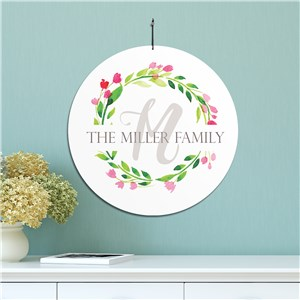Personalized Floral Wreath House Sign | Personalized Family Name Signs